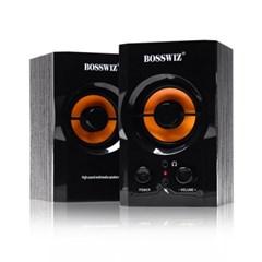 BOSSWIZ 10W 2채널 MDF우드 컴퓨터 스피커 USB스피커 볼륨조절
