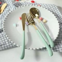 몽블랑 스완 골드 커트러리 11color - 디너 3종세트