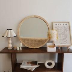 라탄 우드 벽걸이 원형거울