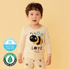 [따솜] 노랑꿀벌 오가닉 20수 후라이스 유아동 실내복 상하의세