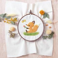 하마나카 양모펠트 아기여우와 나비 자수 DIY