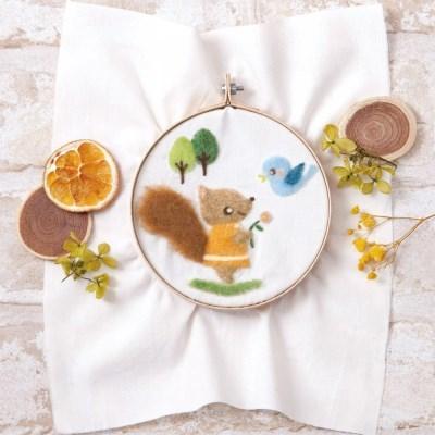 하마나카 양모펠트 작은다람쥐와 새 자수 DIY