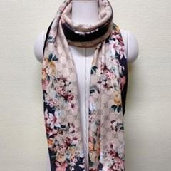 실키 롱 플라워 꽃무늬 데일리 엄마 중년 패션 스카프