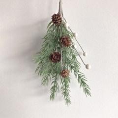 솔방울 화이트 폼폼 크리스마스 조화 부쉬 겨울장식 소나무가지