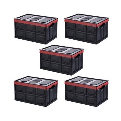 다용도 접이식 수납정리 폴딩박스 - 중형 - 30L - 블랙 - 5개 세트