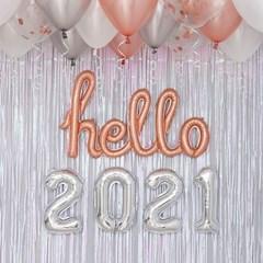 이니셜 hello 2021 신년파티 장식세트 실버톤
