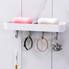 OMT 무타공 벽부착 욕실 비누받침대 4구 후크걸이 수납선반