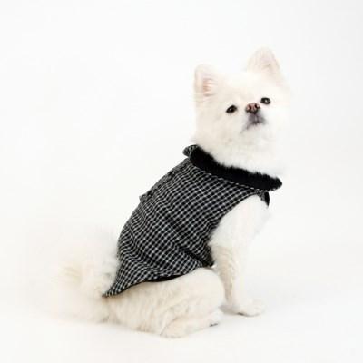 [퍼리굿] 체크코튼 누빔조끼 베스트 올인원 겨울옷 (체크블랙&블랙)