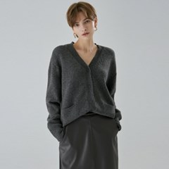 V WOOL KNIT CARDIGAN_CHARCOAL