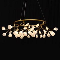 LED 식탁등 잎새 라운드 45등 샹들리에 골드 45W 전구포_(1980038)