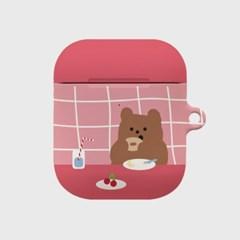 pink check brunch gummy 에어팟 하드케이스_(983809)