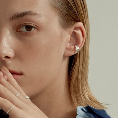 Bold Double Ring Ear Cuff (925 Silver).16