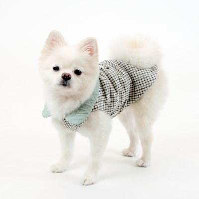 [퍼리굿] 체크누빔조끼 베스트 올인원 겨울옷 (체크그레이&민트)