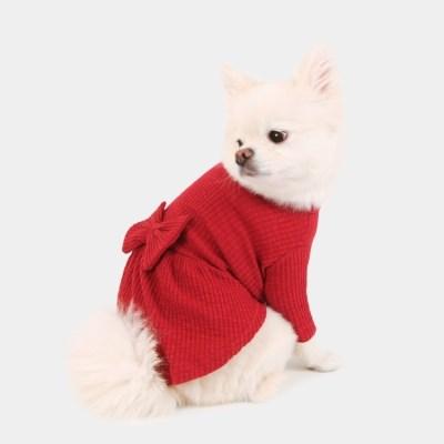 [퍼리굿] 강아지 목폴라 골지 원피스 겨울옷 (레드)