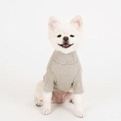 [퍼리굿] 강아지옷 폴라 골지 티셔츠 겨울옷 (그레이)