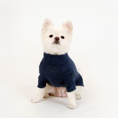 [퍼리굿] 강아지 목폴라 골지 티셔츠 겨울옷 (네이비)