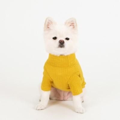 [퍼리굿] 강아지 목폴라 골지 티셔츠 겨울옷 (옐로우)