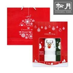 크리스마스 자수 수건 140g 3장 세트 (박스+쇼핑백)