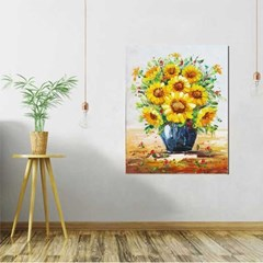 Home gallery CANVAS Oil Painting 둥근화병 해바라기