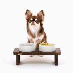 [퍼리굿] 강아지 고양이 고급 원목도자기 밥그릇 식기세트 (다크)