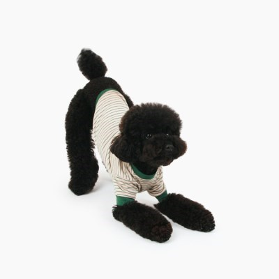 [퍼리굿] 강아지옷 스트라이프 티셔츠 (베이지 & 올리브그린)