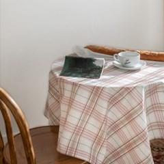 쉐어캐롤체크 식탁보 테이블보 120x120cm 테이블러너