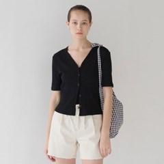 Ribbed Short Cardigan - Black