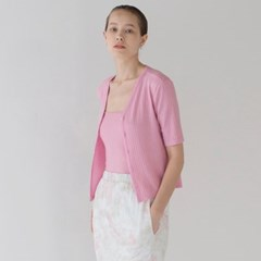 Ribbed Short Cardigan - Pink