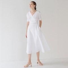 Wrap Flared Dress - White