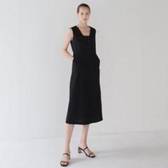 Linen Square Neck Dress - Black