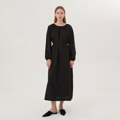 Balloon Shirring Dress - Black