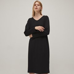 Ribbed V-neck Dress - Black