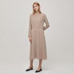 Long Sleeve Flare Dress - Beige