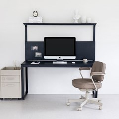 윌리 1500 블랙 1인용 타공판책상 컴퓨터 철제 게이밍 BK