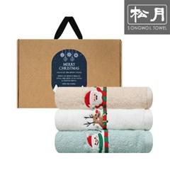 크리스마스 산타 자수 130g 호텔수건 3P 선물세트