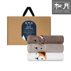 크리스마스 동물 자수 150g 호텔수건 3P 선물세트