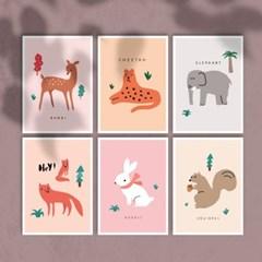 키즈 애니멀 엽서 6개세트 / 미니 포스터 동물 액자,달력과 데코