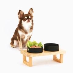 [퍼리굿] 강아지 고양이 고급 원목도자기 밥그릇 식기세트 (클리어)