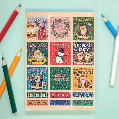 디원 크리스마스 산타 사각 스티커(YST04)