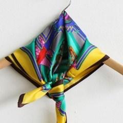 실크 트윌리 가방 옐로우 네이비 중년 패션 스카프