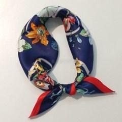 실크 꽃무늬 플라워 네이비 미시 패션 스카프