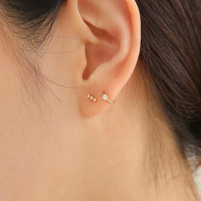 14k gold mini ball CZ onetouch ring piercing (14k 골드)