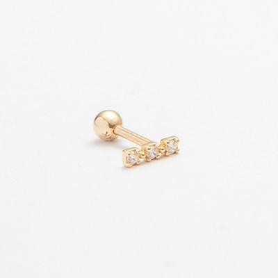 14k gold three layered CZ bar piercing (14k 골드) (바두께1mm)