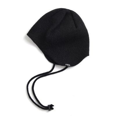CASHMERE EAR FLAP BEANIE (BLACK)_(401201940)