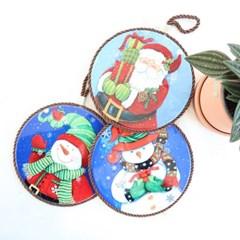 크리스마스 산타눈사람 원형 냄비받침(3type)_(2088422)