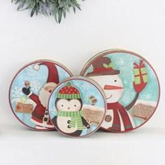크리스마스 캐릭터 원형 틴케이스 3개 세트_(2088421)