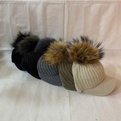 방울캡 니트 데일리 패션 챙넓은 라쿤 니트 볼캡 모자