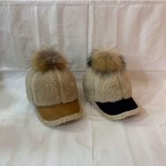 방울캡 챙넓은 패션 뽀글이 무스탕 양털 볼캡 모자