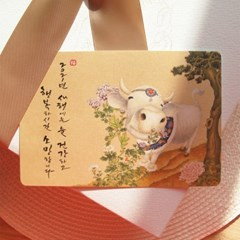 손글씨 민화 연하장 엽서세트 I [행복한 소] 5EA