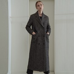 [COMFY] HERRINGBONE WOOL BLENDED DOUBLE COAT